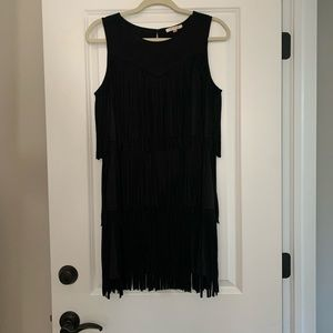 Black leather/suede fringe style dress